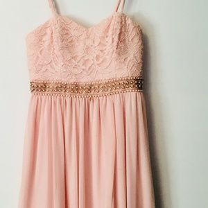 Blush Pink Short Dress with Lace and Beading